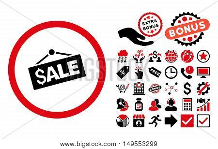 Sale Signboard pictograph with bonus pictures. Glyph illustration style is flat iconic bicolor symbols, intensive red and black colors, white background.