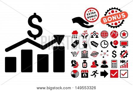 Sales Chart pictograph with bonus images. Glyph illustration style is flat iconic bicolor symbols, intensive red and black colors, white background.