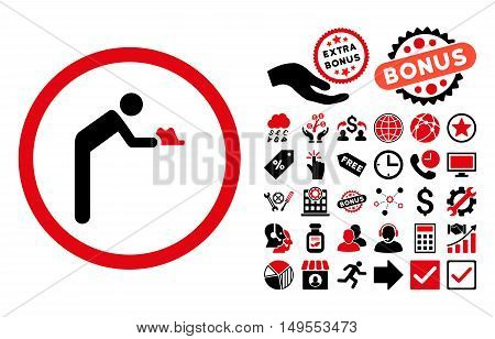 Servant pictograph with bonus pictogram. Glyph illustration style is flat iconic bicolor symbols, intensive red and black colors, white background.