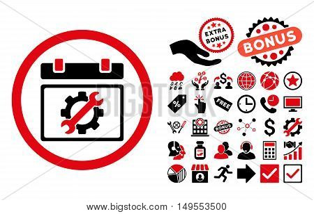 Service Day icon with bonus images. Glyph illustration style is flat iconic bicolor symbols, intensive red and black colors, white background.