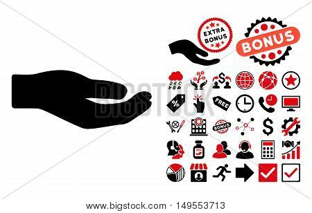 Share Hand icon with bonus symbols. Glyph illustration style is flat iconic bicolor symbols, intensive red and black colors, white background.
