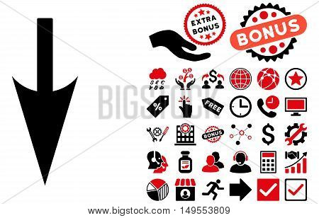 Sharp Down Arrow pictograph with bonus symbols. Glyph illustration style is flat iconic bicolor symbols, intensive red and black colors, white background.