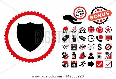 Shield pictograph with bonus pictogram. Glyph illustration style is flat iconic bicolor symbols, intensive red and black colors, white background.