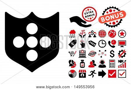 Shield pictograph with bonus symbols. Glyph illustration style is flat iconic bicolor symbols, intensive red and black colors, white background.