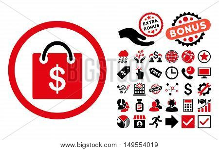 Shopping Bag pictograph with bonus elements. Glyph illustration style is flat iconic bicolor symbols, intensive red and black colors, white background.