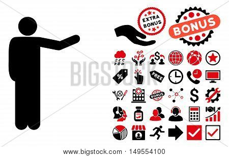 Showing Man pictograph with bonus design elements. Glyph illustration style is flat iconic bicolor symbols, intensive red and black colors, white background.