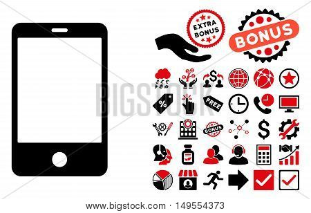Smartphone pictograph with bonus pictogram. Glyph illustration style is flat iconic bicolor symbols, intensive red and black colors, white background.