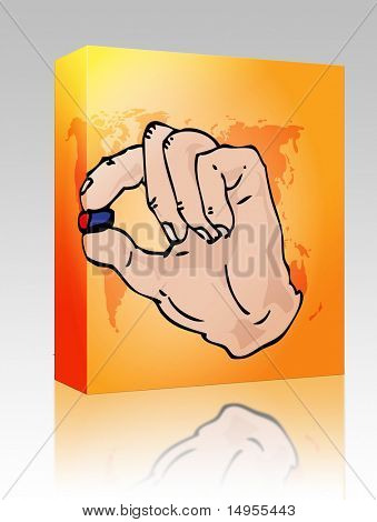 Software package box Hand holding medicine, illustration in hand-drawn format