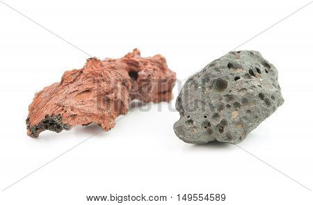 piece of volcanic lava isolated on a white background