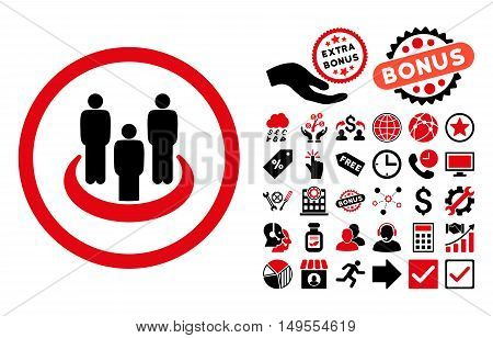 Social Group icon with bonus symbols. Glyph illustration style is flat iconic bicolor symbols, intensive red and black colors, white background.
