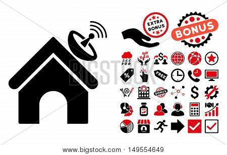 Space Antenna Building pictograph with bonus pictograph collection. Glyph illustration style is flat iconic bicolor symbols, intensive red and black colors, white background.