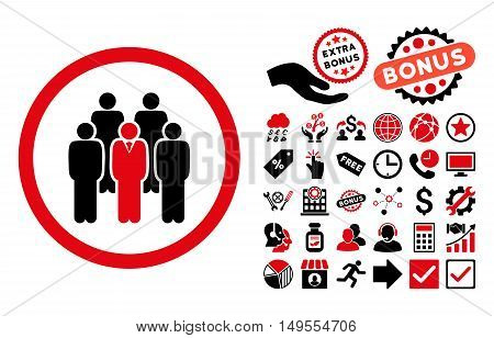Staff pictograph with bonus elements. Glyph illustration style is flat iconic bicolor symbols, intensive red and black colors, white background.