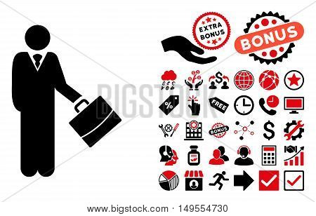 Standing Businessman icon with bonus icon set. Glyph illustration style is flat iconic bicolor symbols, intensive red and black colors, white background.