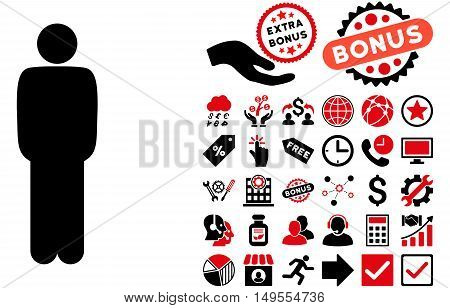 Standing Man icon with bonus pictograph collection. Glyph illustration style is flat iconic bicolor symbols, intensive red and black colors, white background.