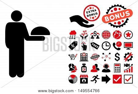 Standing Waiter pictograph with bonus pictograph collection. Glyph illustration style is flat iconic bicolor symbols, intensive red and black colors, white background.
