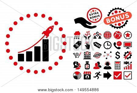 Startup Sales pictograph with bonus clip art. Glyph illustration style is flat iconic bicolor symbols, intensive red and black colors, white background.