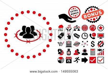 Strict Management pictograph with bonus elements. Glyph illustration style is flat iconic bicolor symbols, intensive red and black colors, white background.