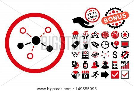 Structure pictograph with bonus pictograph collection. Glyph illustration style is flat iconic bicolor symbols, intensive red and black colors, white background.