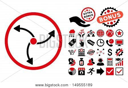Swirl Direction icon with bonus icon set. Glyph illustration style is flat iconic bicolor symbols, intensive red and black colors, white background.