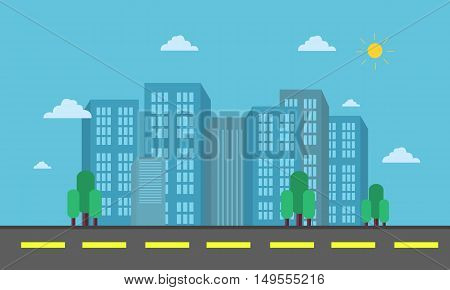 Vector of city and street landscape illustration