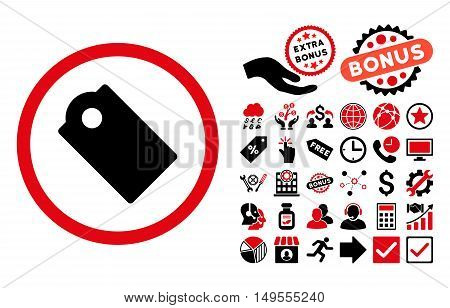 Tag pictograph with bonus clip art. Glyph illustration style is flat iconic bicolor symbols, intensive red and black colors, white background.