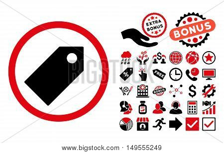 Tag icon with bonus pictograph collection. Glyph illustration style is flat iconic bicolor symbols, intensive red and black colors, white background.