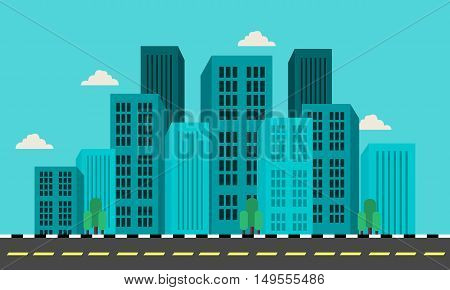 Flat vector illustration of city landscape collection