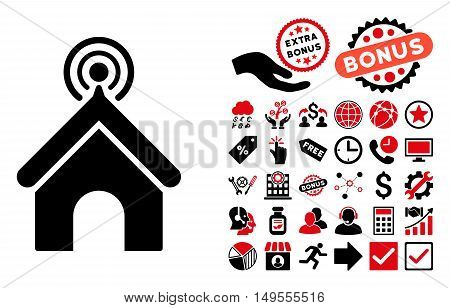Telecom Office pictograph with bonus icon set. Glyph illustration style is flat iconic bicolor symbols, intensive red and black colors, white background.