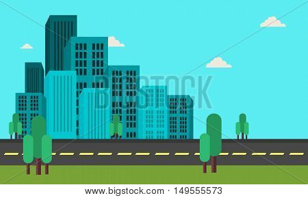 Many building landscape of flat vector illustration