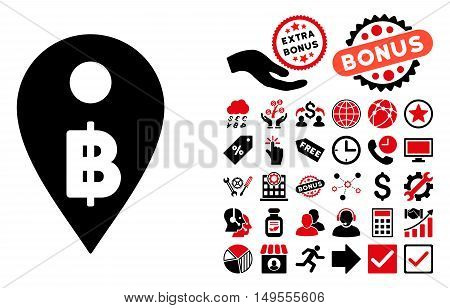 Thai Baht Map Marker icon with bonus icon set. Glyph illustration style is flat iconic bicolor symbols, intensive red and black colors, white background.