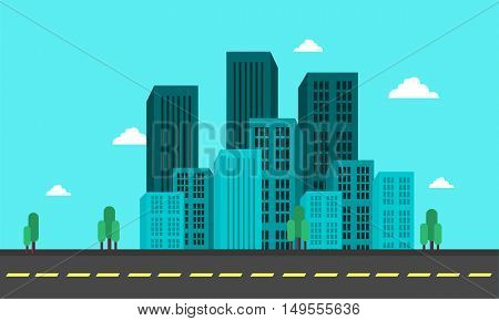 Flat backgrounds city town of vector illustration