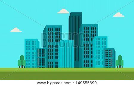 Town skyline landscape of silhouette vector illustration