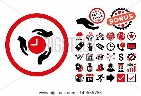 Time Care pictograph with bonus pictogram. Glyph illustration style is flat iconic bicolor symbols, intensive red and black colors, white background.
