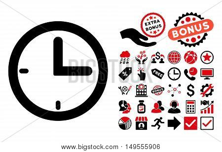 Time pictograph with bonus elements. Glyph illustration style is flat iconic bicolor symbols, intensive red and black colors, white background.