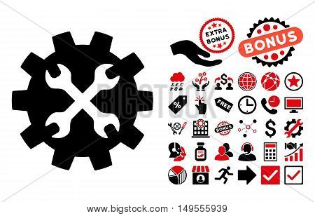 Tools pictograph with bonus pictograph collection. Glyph illustration style is flat iconic bicolor symbols, intensive red and black colors, white background.