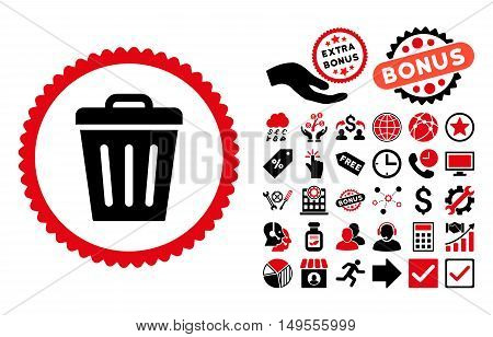 Trash Can icon with bonus clip art. Glyph illustration style is flat iconic bicolor symbols, intensive red and black colors, white background.