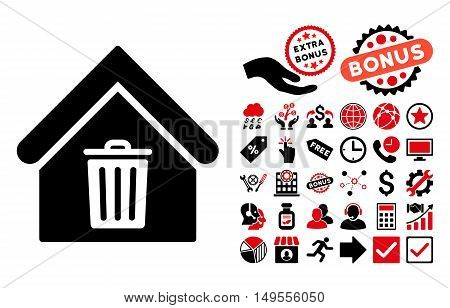 Trash House pictograph with bonus elements. Glyph illustration style is flat iconic bicolor symbols, intensive red and black colors, white background.