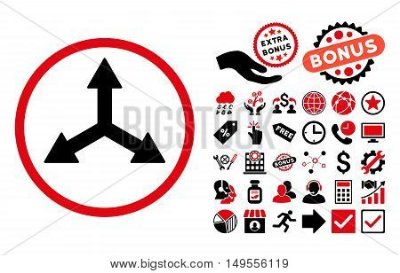 Triple Arrows icon with bonus pictures. Glyph illustration style is flat iconic bicolor symbols, intensive red and black colors, white background.