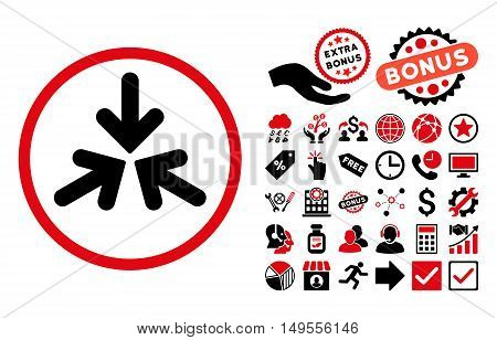 Triple Collide Arrows icon with bonus pictograph collection. Glyph illustration style is flat iconic bicolor symbols, intensive red and black colors, white background.