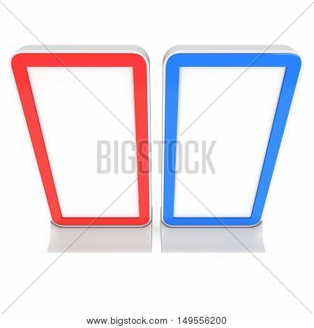 LCD Screen Stand Red and Blue. Blank Trade Show Booth. 3d render of lcd tv isolated on white background. High Resolution. Ad template for your expo design.
