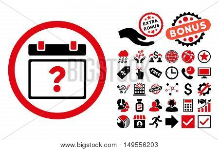 Unknown Date icon with bonus design elements. Glyph illustration style is flat iconic bicolor symbols, intensive red and black colors, white background.