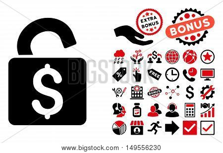 Unlock Banking Lock pictograph with bonus design elements. Glyph illustration style is flat iconic bicolor symbols, intensive red and black colors, white background.