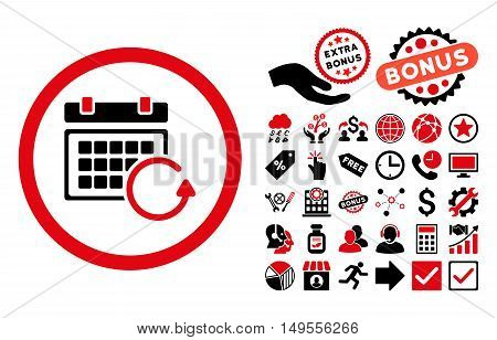 Update Calendar pictograph with bonus pictures. Glyph illustration style is flat iconic bicolor symbols, intensive red and black colors, white background.