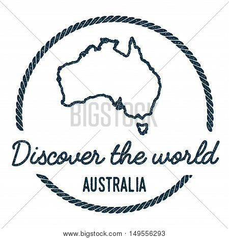 Australia Map Outline. Vintage Discover The World Rubber Stamp With Australia Map. Hipster Style Nau