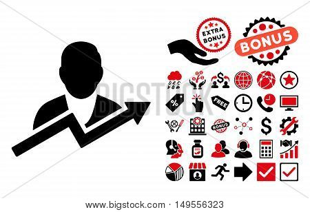User Trend icon with bonus elements. Glyph illustration style is flat iconic bicolor symbols, intensive red and black colors, white background.