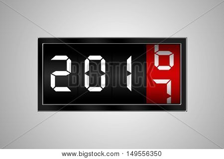 2017 countdown timer isolated on grey background