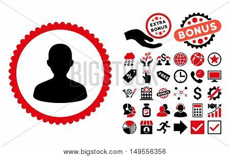 User pictograph with bonus pictogram. Glyph illustration style is flat iconic bicolor symbols, intensive red and black colors, white background.