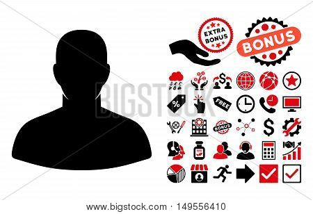 User pictograph with bonus pictures. Glyph illustration style is flat iconic bicolor symbols, intensive red and black colors, white background.