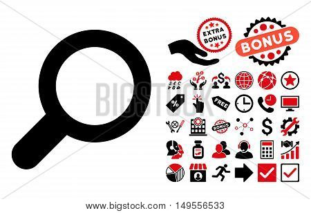 View pictograph with bonus pictogram. Glyph illustration style is flat iconic bicolor symbols, intensive red and black colors, white background.