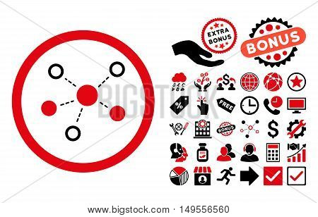 Virtual Links icon with bonus clip art. Glyph illustration style is flat iconic bicolor symbols, intensive red and black colors, white background.